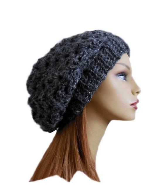 GRAY SLOUCHY Hat Bestseller Crochet Knit Hat Dark Charcoal  79a6bbe35f56