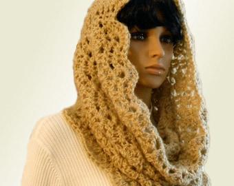 INFINITY Scarf Hood Cowl Camel Light Tan Handmade Crochet Knit  Eternity Loop Infiniti Spring Church Head Cover  Scarf