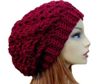 Burgundy Slouchy Beanie Hat Chunky Crochet Knit Hat Slouchie Beanie Mulberry Wool hat Slouch Beany Women Hats Womans Accessories Winter Hat