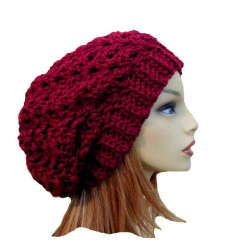 Burgundy Slouchy Beanie Hat Chunky Crochet Knit Hat Slouchie image 0