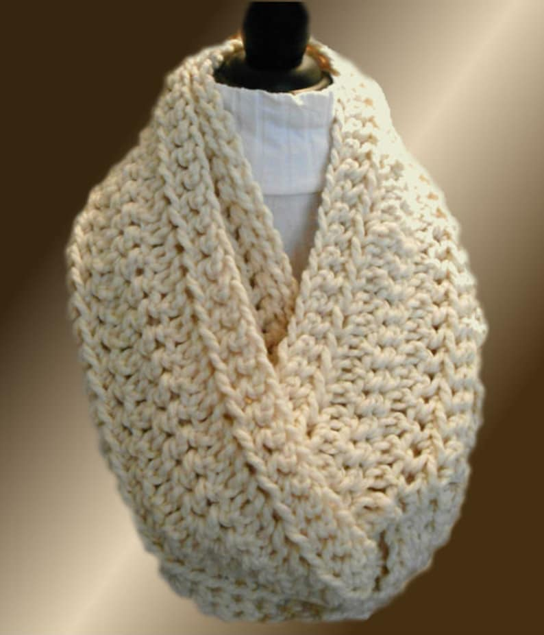 Infinity Scarf Cowl Cream SUPPA Long Chunky Loop Circle Scarf image 0
