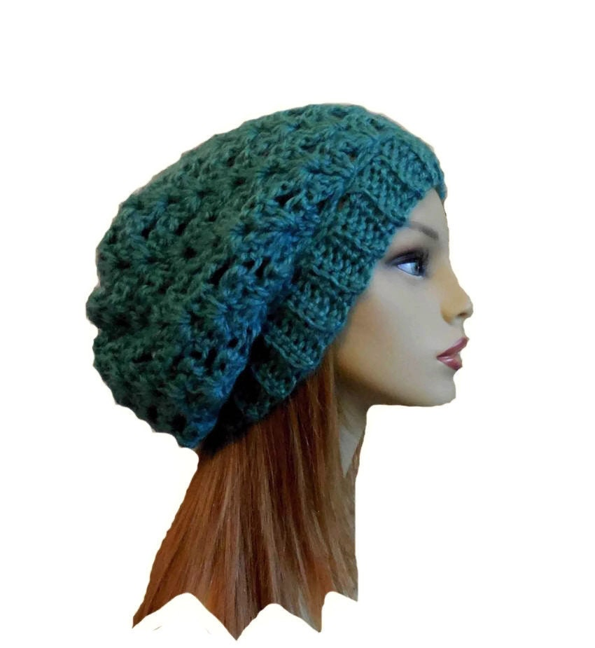 b2c1f47c01322 Slouchy Beanie Hat Green Knit Hat Crochet Beany Slouch