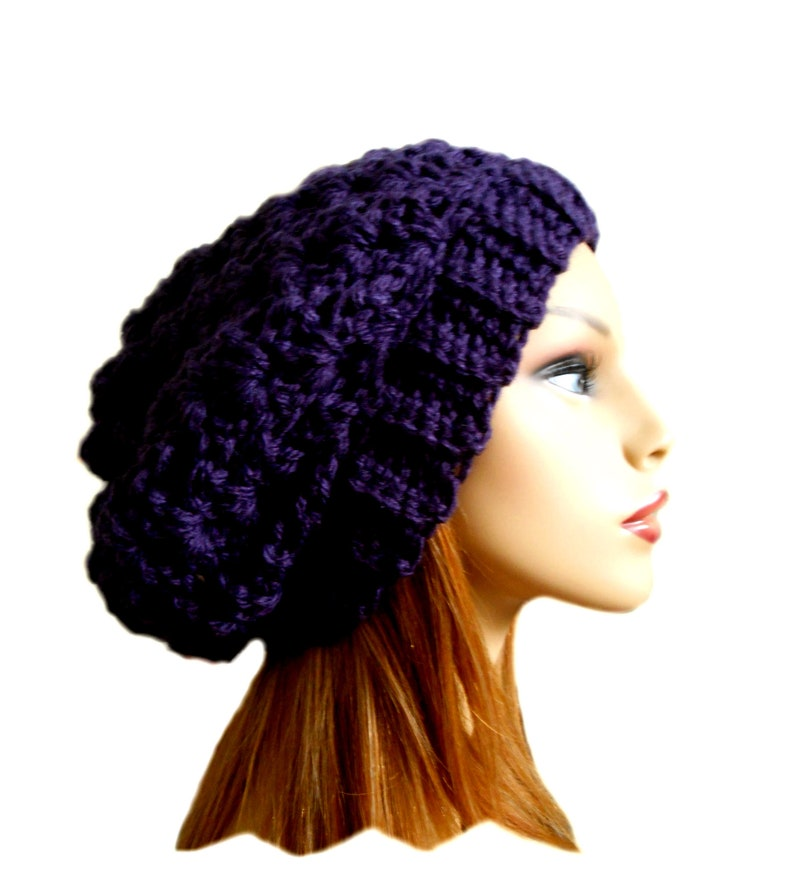 Purple Slouchy Hat Crochet Knit Chunky Beanie Slouch Beany image 0