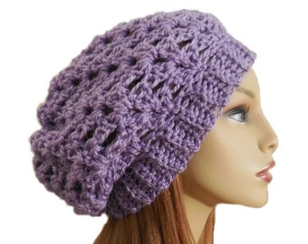 Slouch Hat Light Purple Crochet Knit Slouchie Beany Lavender Slouchy Beanie Slouchie Beany Women Accessories Great Gift