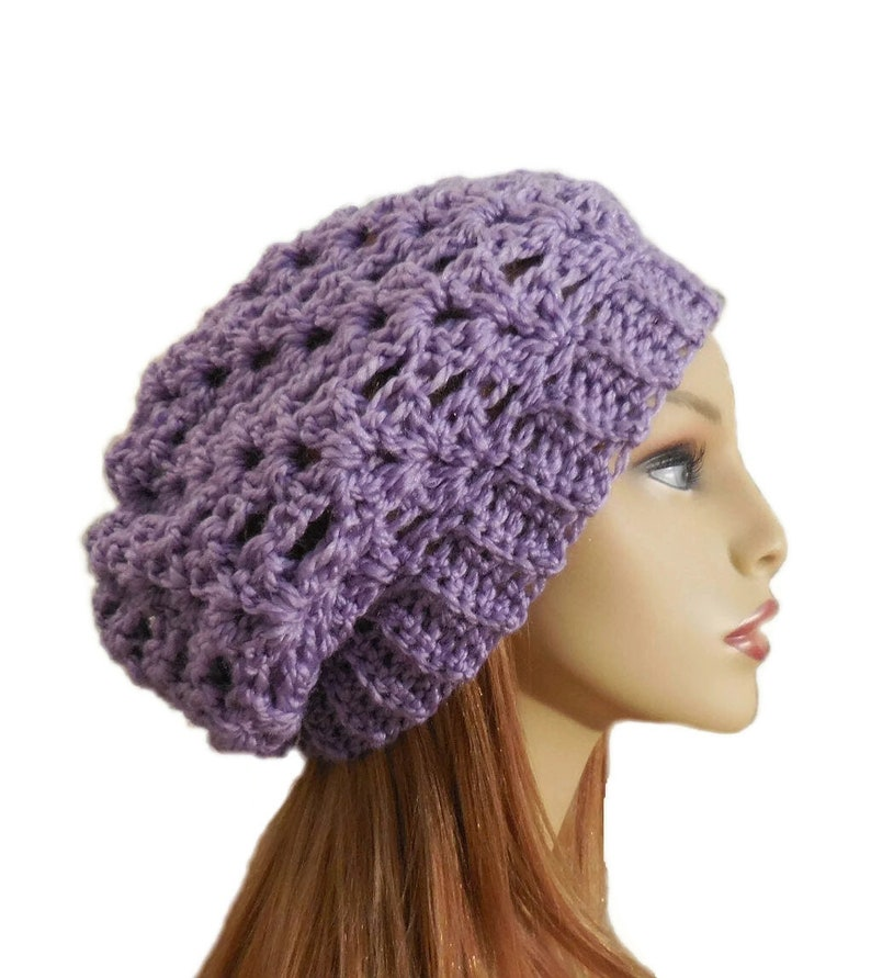 Slouch Hat Light Purple Crochet Knit Slouchie Beany Lavender image 0