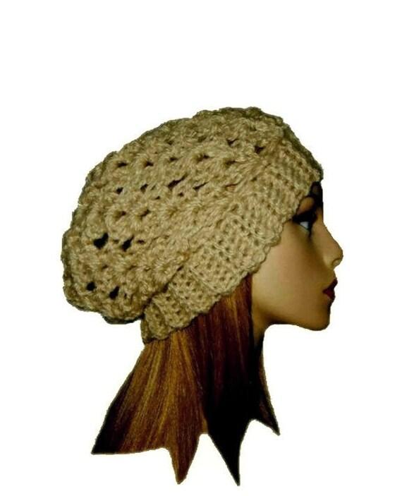 Tan Hat Slouchy Beanie Knit Slouchy Hat Crochet Slouchie Beany  42844eb8f084