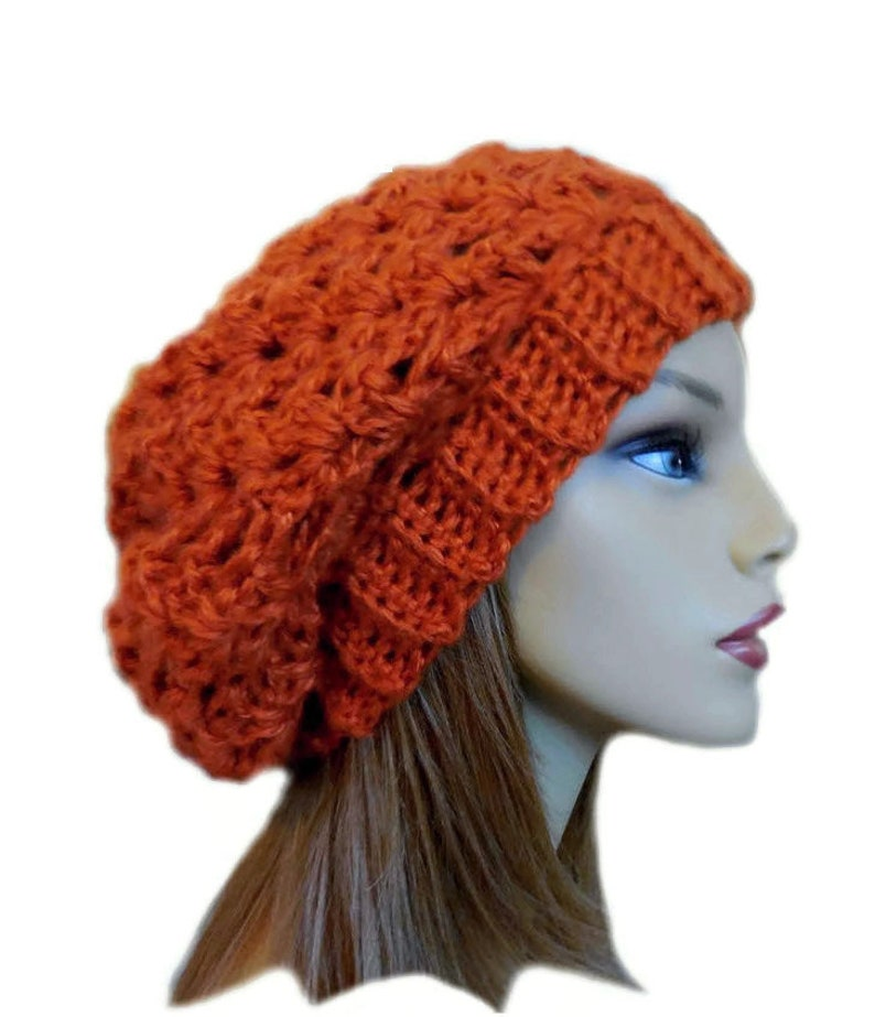 Slouchy Beanie Women Burnt Orange Slouchy Knit Apricot Slouchy image 0