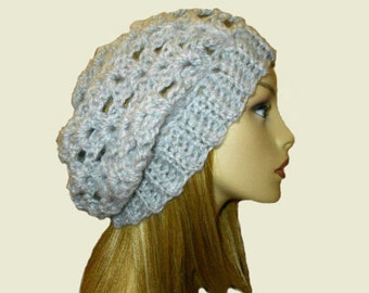 Slouchy Hat Beanie Crochet Beany Heather Grey Slouch Women Teen Knit Light Gray Spring Crochet Hat