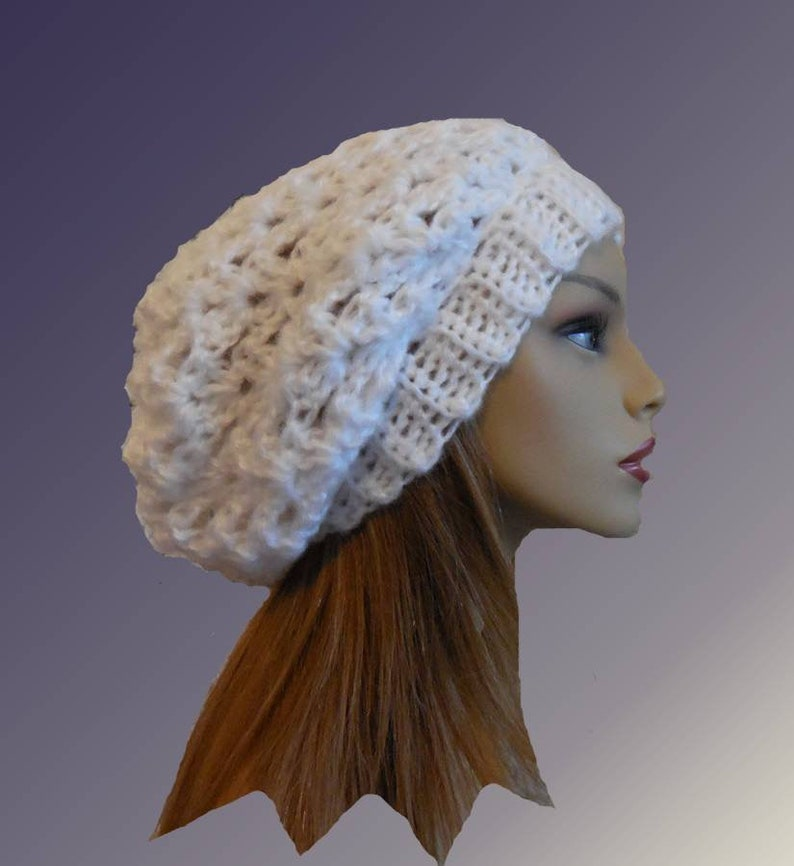 Slouchy Hat Beanie White Crochet Knit Slouch Hat Woman Bright image 0