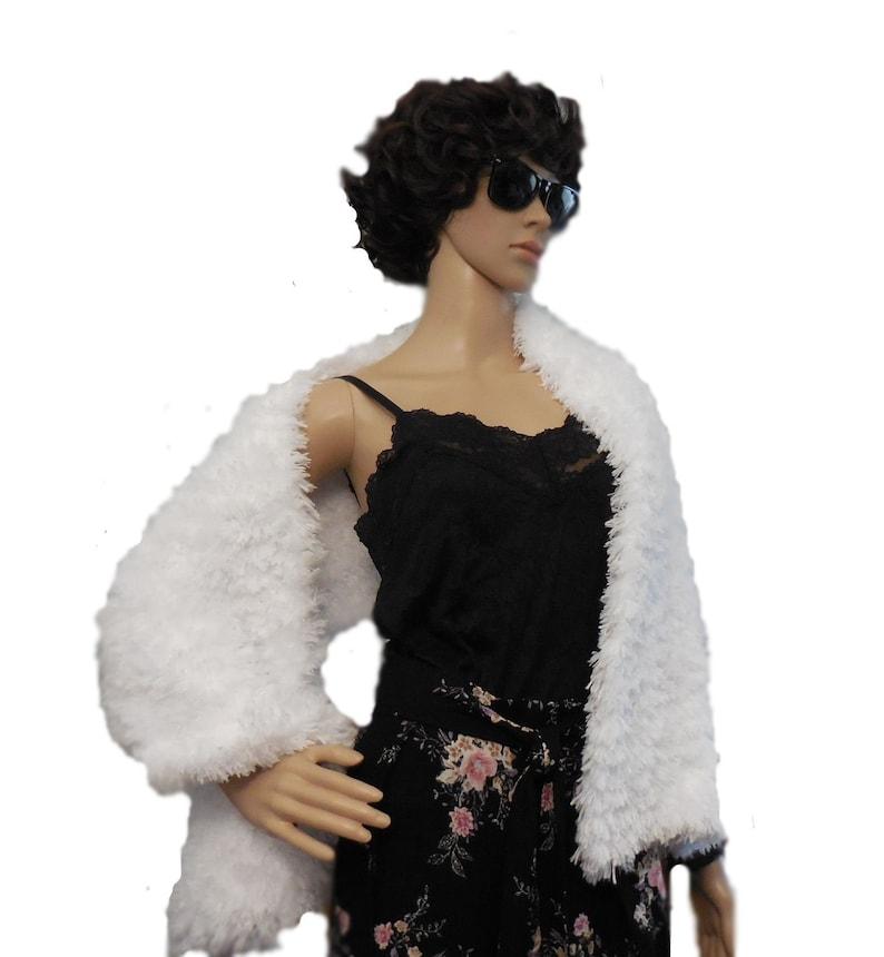 Fur Stole Wedding White Faux Fur Wrap Fashion Statement image 0