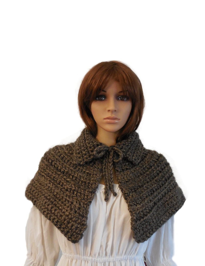 Caplet Brown Mini Cape Knit Crochet Capelet Cosplay image 0