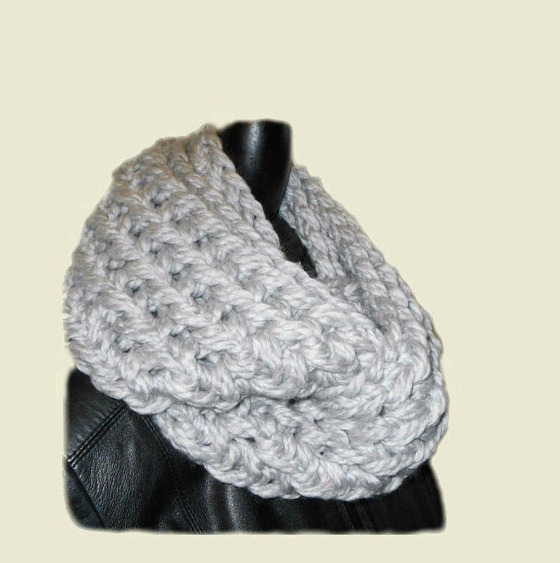 Gray Scarf SUPER CHUNKY Squishy Soft Infinity Scarf Cowl image 0