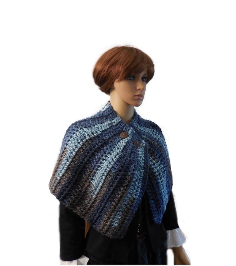 Cape Mini Cape Knit Crochet Capelet Buttoned Shawl image 0