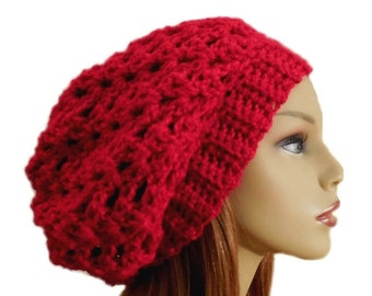 Red Hat Slouchy Beanie Crochet Slouch Knit Slouchie Wool Bright Red Beany Women Hats Teen Hat Gift for Her
