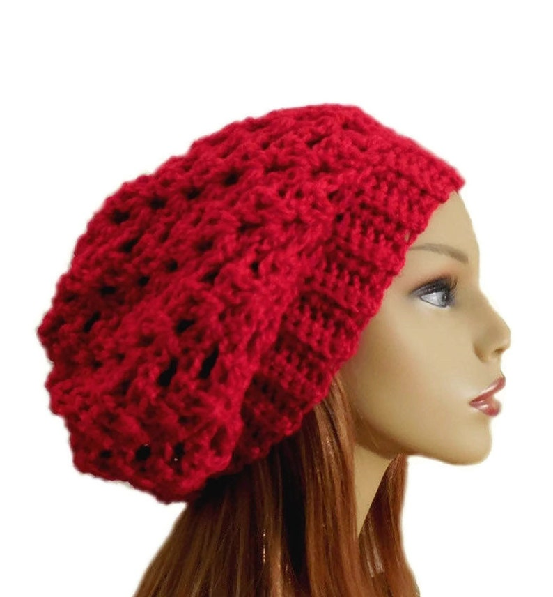 RED Hat SLOUCHY Beanie Hat Crochet Slouch Knit Slouchie Wool image 0