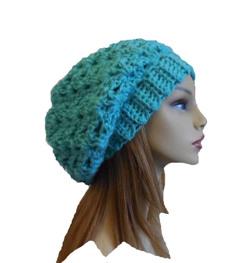 Slouchy Hat Beany Teal Aqua Crochet Knit Slouch Hat Woman image 0