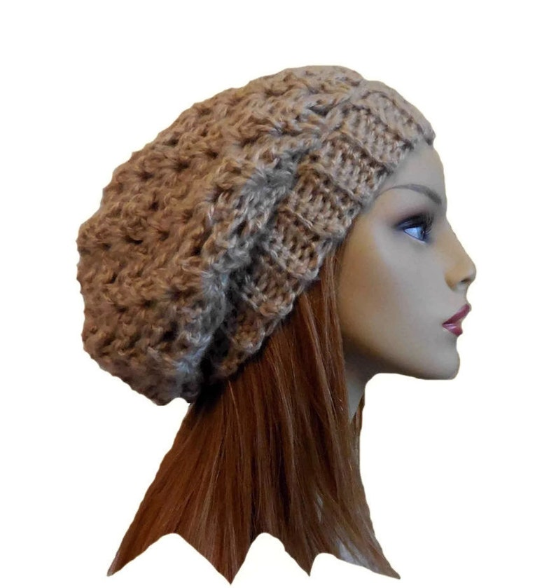 Slouchy Beanie Hat Light Brown Knit Crochet Slouchie Beany Tan image 0