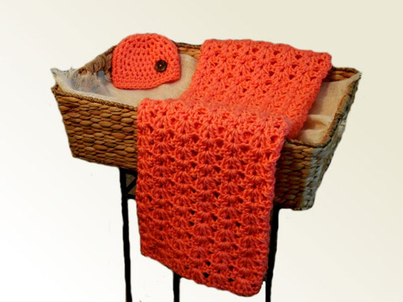 Crochet Baby Blanket and Hat Coral Orange Baby Shower Gift image 0