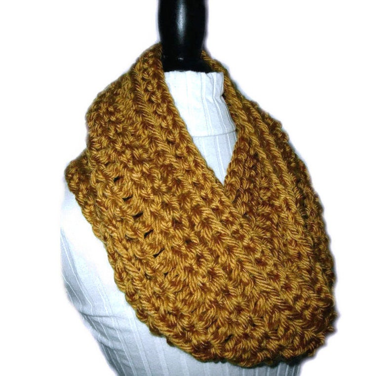 GOLD INFINITY Scarf Cowl Long Knit Chunky Circle Loop Scarf image 0