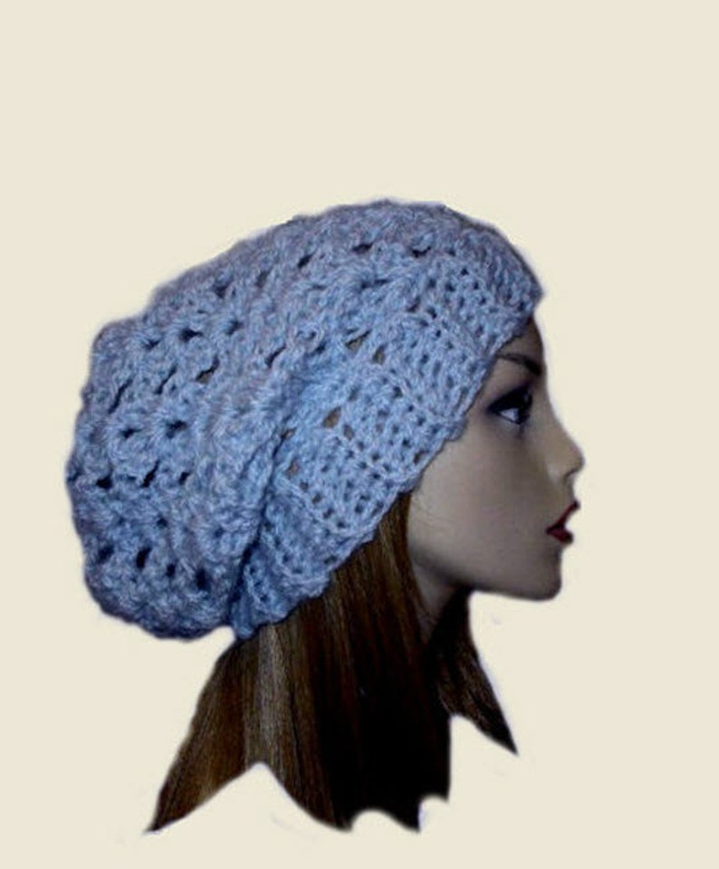 4f45cb80312ce Slouchy Beanie Hat Light Blue Knit Spring Slouchie Women Teen
