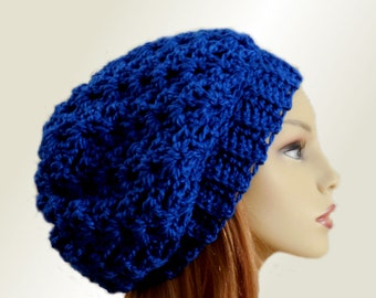 BLUE SLOUCHY Hat Crochet Hat Knit Wool Hat Royal Blue Slouchy Beanie Slouch Slouchie Beany Women Hats Accessories Teen Hat Gift for Her
