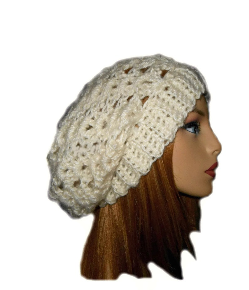 Slouchy Beanie Hat Crochet Slouchie Beany Knit Slouch White image 0
