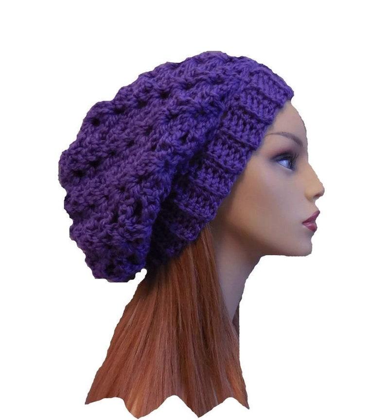 SLOUCHY Beanie Hat Women Purple Crochet Knit Wool Slouchie image 0