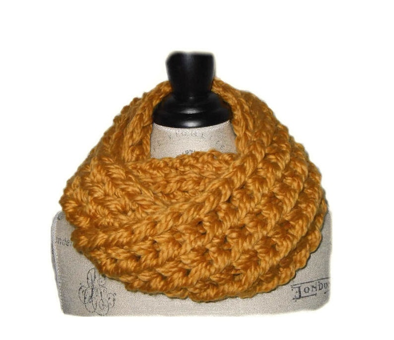 Super Chunky Infinity Scarf Cowl Loop Scarf Goldenrod Super image 0