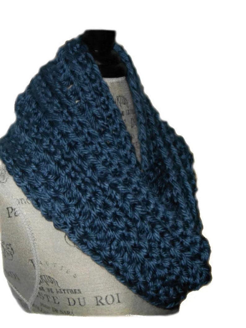 Infinity Scarf Cowl Denim Blue Long Chunky Crochet Hand Made image 0