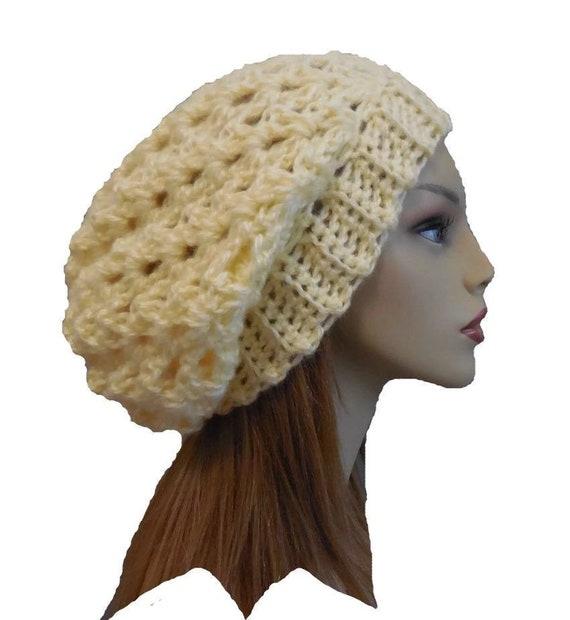 Slouchy Hat Beanie Light Yellow Crochet Knit Slouch Hat Woman  024221b5b46