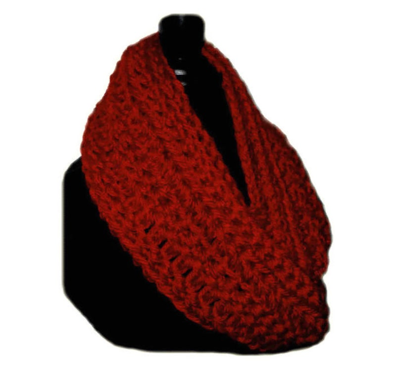 Red Infinity Scarf Cowl Hand Made in USA Eternity Infiniti image 0