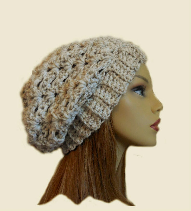 SLOUCHY Beanie Womens Slouch Hat Chunky Crochet Wheat image 0