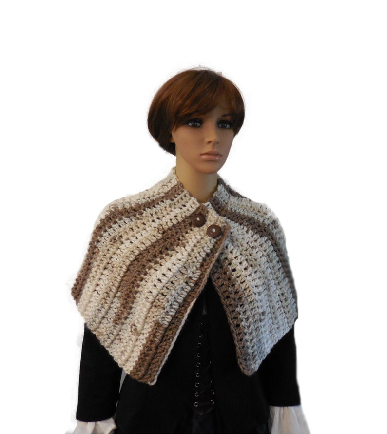Caplet Buttoned Cape Varigated Cream Tan Beige Knit Crochet image 0