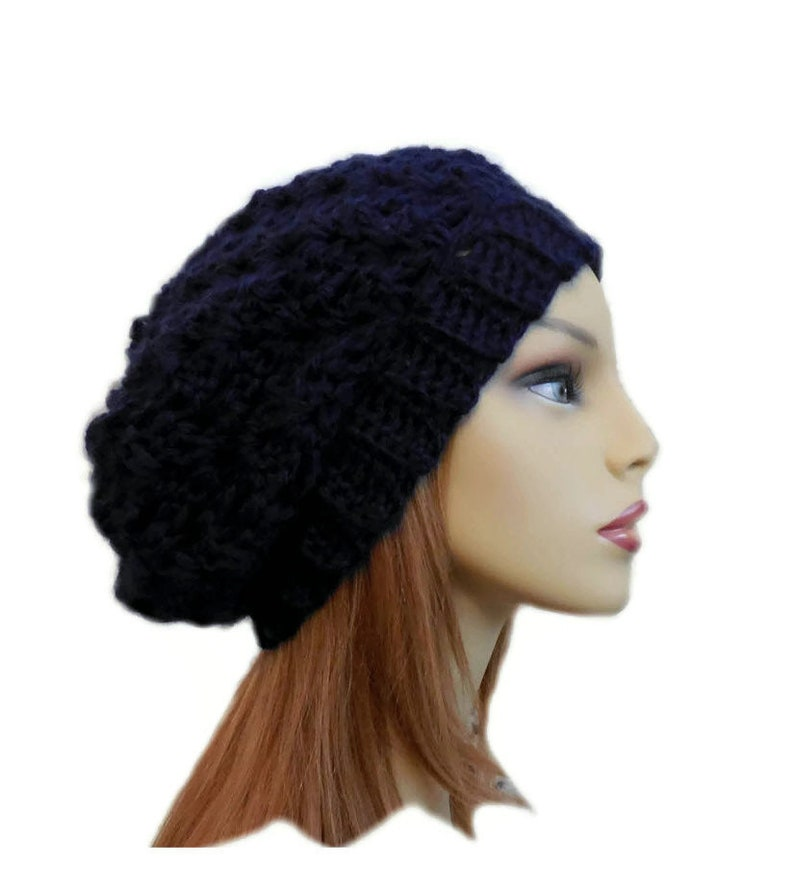 Dark Blue Slouchy Beanie Hat Crochet Knit Slouchie Beanie image 0
