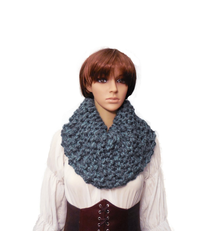 Oversized Infinity Cowl Knit Blue Gray Infinity Scarf Cowl image 0