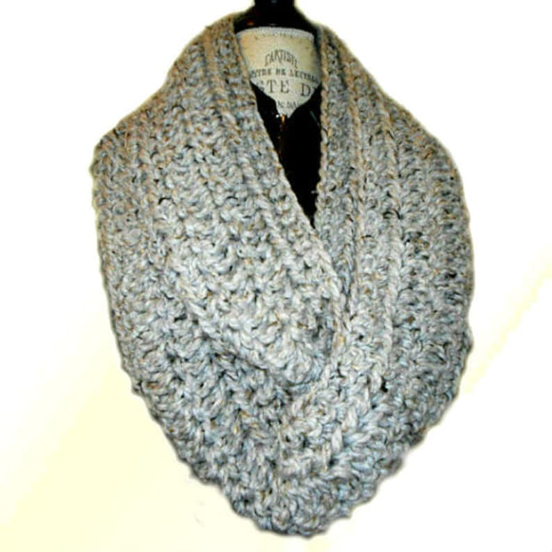 Gray Infinity Scarf Cowl Extra Long Crochet Knit Mens Infinity image 0