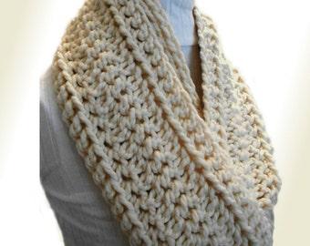 Infinity Scarf Cowl EXTRA Long Chunky Loop Scarf Circle Scarf Crochet Wool Cream Infinity Vanilla Fishermans Winter White Cream Gift Idea