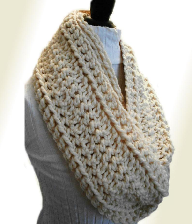 Infinity Scarf Cowl Cream Chunky Loop Circle Scarf Crochet image 0