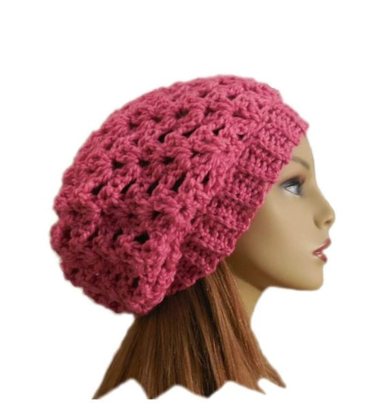 e6291f04 PINK SLOUCHY BEANIE Hat Pink Slouchy Crochet Knit Wool Hat Bright Pink  Slouchie Beany Slouch Women Hats Teen Pink Hat Gift Idea Gift for Her