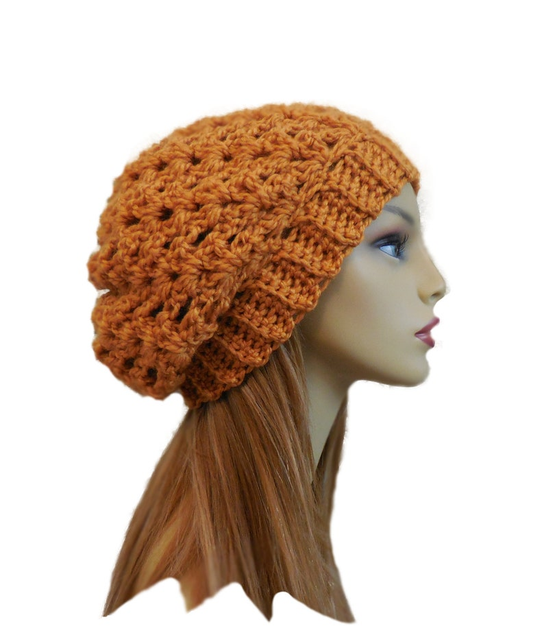 Gold SLOUCHY Hat Crochet Knit Wool Dark Gold Mustard Goldenrod image 0