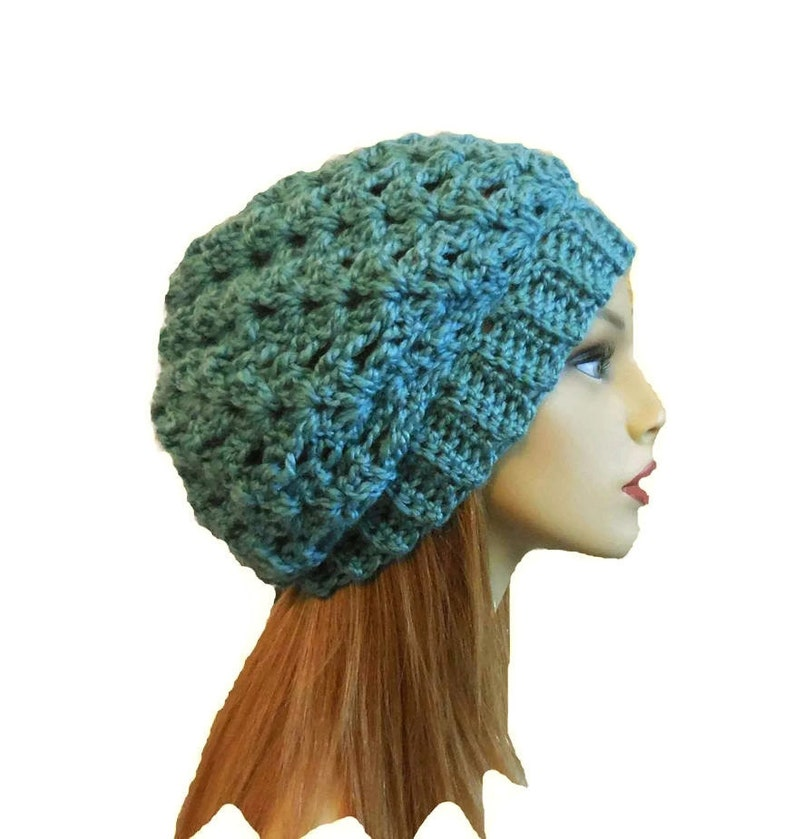 Slouchy Beanie Hat Soft Teal Slouchie Beany Crochet Knit image 0