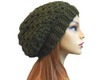 Dark Green Slouchy Beanie Hat Crochet Knit Wool Slouchie Slouch Beany Dark Moss Green Best Selling Women Hats Gift for Her
