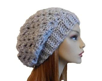 Slouchy Hat Beanie Light Gray Crochet Knit Slouch Hat Woman Slouchie Silver Gray
