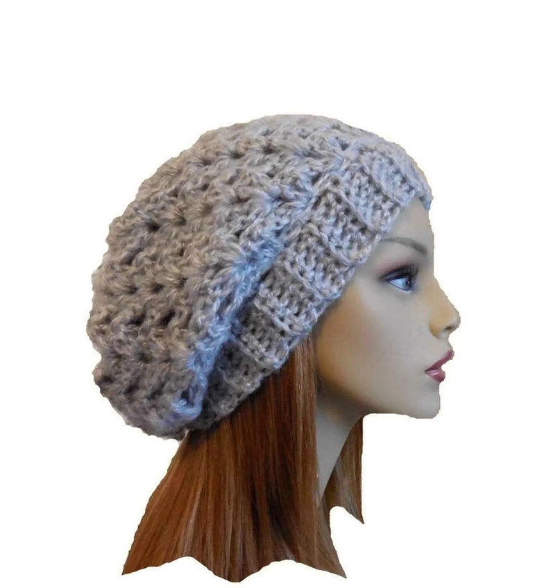 Light Gray Slouchy Hat Beanie Crochet Knit Slouch Hat Woman image 0