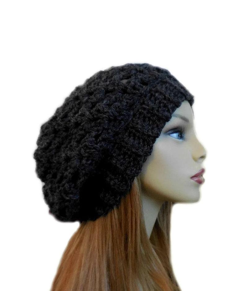 0e239819640 Slouchy Beanie Hat Crochet Hat Knit Slouchy Hat Dark Gray