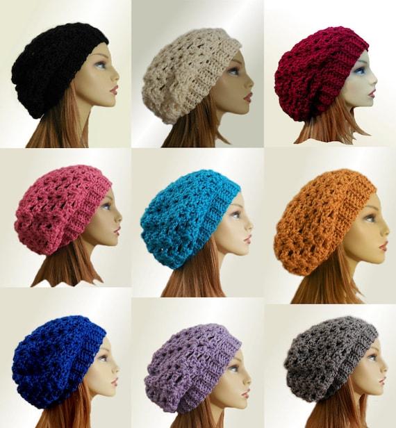 Slouchy Beanie Hat Custom Colors Wool Knit Crochet Slouch  bafa57f68874