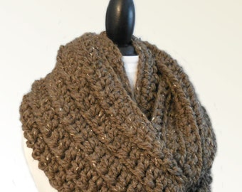 OverSized Infinity Scarf Cowl Barley Brown Infinity Outlander Scarf Huge Infiniti Loop Oversize Brown Scarf Gift for Man Infinity Scarves