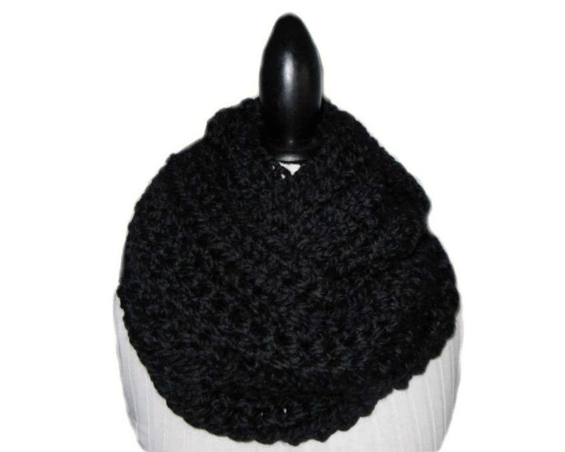 BLACK INFINITY Scarf Cowl SUPPA Long Eternity Circle Loop Wool image 0