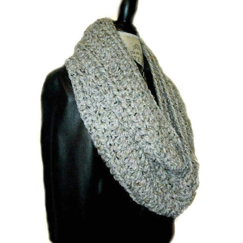 Infinity Scarf Cowl Gray Crochet Knit Scarf Chunky Mens image 0