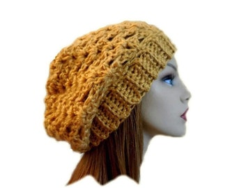 Gold Hat Slouchy Beanie Knit Slouchy Hat Crochet Slouchie Beany Amber Gold Knitwear Hat Gift for Her